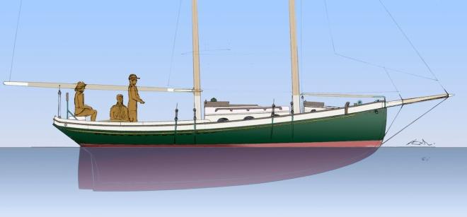 Schooner Boat Outboard Profile