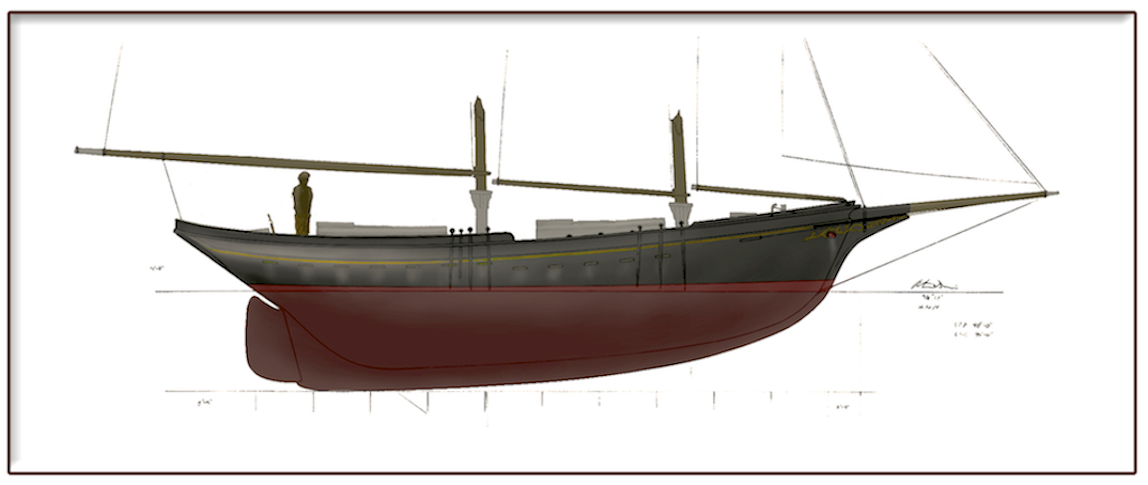 40' Waterline Schooner Illustration