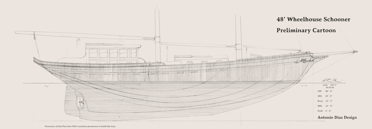Clipper Bowed Wheelhouse Schooner Prelim Profile