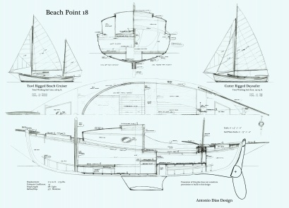 Beach Point 18 Arrangement Plan & Sail Plans keeled