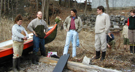 Left to right, builder, Andrea; teachers, Nate and Kevin; and designer; Kevin speaking