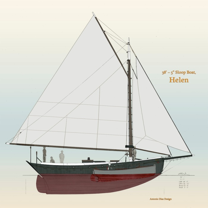 38' Sloop Boat, Helen with Yawl Boat