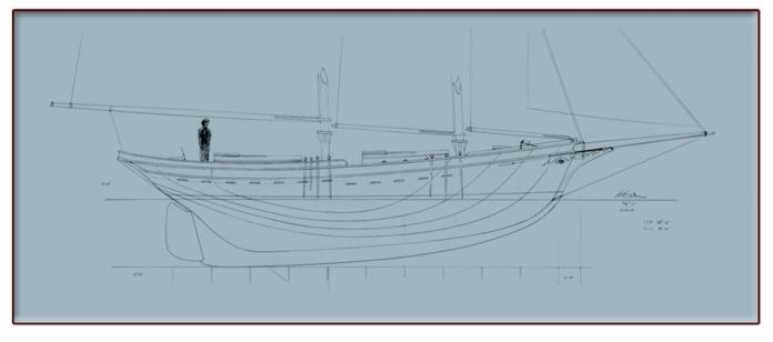 40' Waterline Schooner Blueprint feature